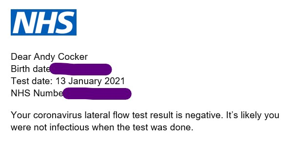 Negative COVID-19 Test